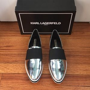 Karl Lagerfeld Paris silver sneaker size 11